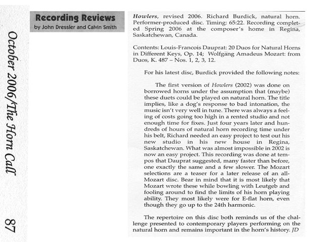 Review of Burdick's CD16 Holwers