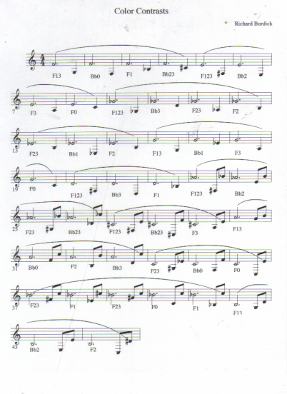 Richard Burdick's Color Contrasts for solo horn , opus 122