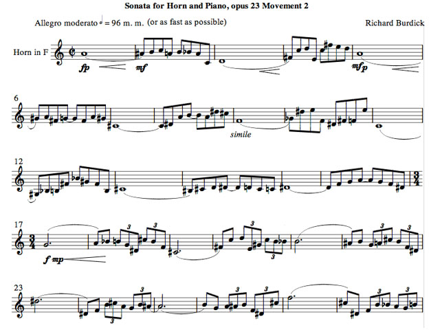 Richard Burdick's Horn Sonata No. 1 m.2, opus 23